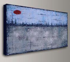 blauw grijs abstract schilderen Acryl schilderij door baronvisi
