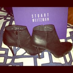 Stuart Weitzman Nero Sport Calf Bootie Black Stuart Weitzman bootie that is so comfortable with the built in platform, even with the 4 inch heel. Only worn a couple of times! Stuart Weitzman Shoes Ankle Boots & Booties