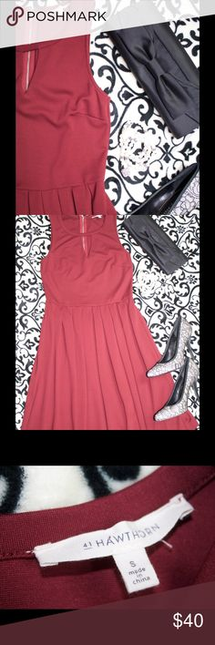 """Deal of the Day Faya Keyhole Fit & Flare Dress Fit and flare, burgundy dress from Stitchfix. Worn just one time! Pair with fun heels, a clutch, and bracelets for an evening night out; or add a cardigan and pumps for a fun work ensemble. Size small: 14"""" bust, 13"""" waist, and 21"""" from waist to bottom (when laying flat). Zippered back. 41Hawthorn Dresses"""