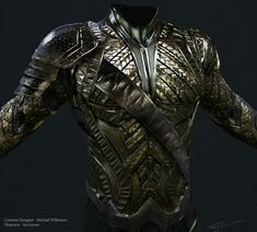 Aquaman armor for Justice League. I worked very closely with costume designer Michael Wilkinson to help bring his vision for Mera and Aquaman to life(along with many others). Constantine Sekeris did some excellent illustrations with Michael early on and I Super Hero Outfits, Super Hero Costumes, Justice League Aquaman, Costume Armour, Viking Helmet, Sci Fi Armor, Shoulder Armor, Tactical Clothing, Leather Armor