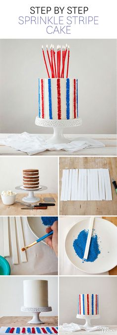 Decorate your favorite layer cake with this fun design for any occasion! Learn how to make it here: http://www.bhg.com/recipes/desserts/cakes/sprinkle-stripe-cake/?socsrc=bhgpin051514stripecake