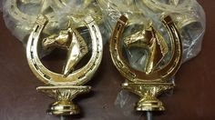 "VINTAGE NEW LOT of 6 HORSESHOE HORSE TROPHY TOPPERS HEAVY 4"" GOLD METAL #HORSEPAINTSHOWRIDINGWESTERNENGLISHDERBY"