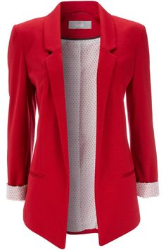 Red Ponte Blazer Jacket and other apparel, accessories and trends. Browse and shop related looks. Fashion Mode, Look Fashion, Autumn Fashion, Womens Fashion, Fashion Outfits, Look Blazer, Red Blazer, Blazer Jacket, Knit Blazer