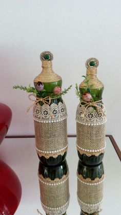Custom hand painted/designed decorative wine bottle for centerpieces in home decor, vases, or to an extra touch of color in the room Wine Bottle Art, Diy Bottle, Wine Bottle Crafts, Bottles And Jars, Glass Bottles, Wine Bottle Centerpieces, Plastic Bottle Crafts, Wine Cork Crafts, Altered Bottles