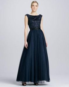 Aidan Mattox Lace Beaded Belted Tulle..