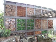 privacy wall, wine bottles, corks, copper, walnut and cedar