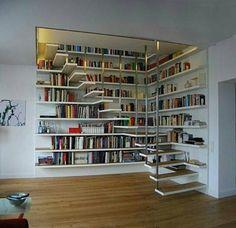 Ideas Home Library Ideas Diy Bookshelves House Book Stairs, Bookcase Stairs, Modern Bookcase, Attic Stairs, Bookshelf Bench, Attic Floor, Garage Attic, Attic Ladder, Attic Window