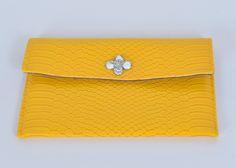 handbag, yellow, faux python by sewsingsell on Etsy