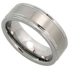 8mm Tungsten Wedding Band Deep Grooved Edges Brushed Finish Comfort fit, sizes 7 to 14