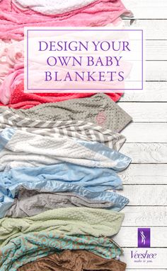 Design your own baby blankets online! Choose from super-soft minky fabrics and beautiful satin to create your own custom baby blankets and bibs. Made in the USA, your custom baby blanket will be manufactured on demand. Enjoy 10% off with code PINTEREST10. Go on and get designing!  #veeshee