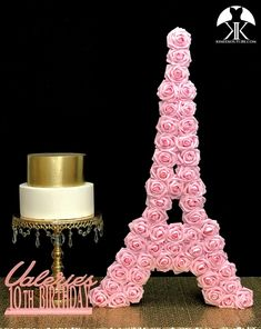 EIFFEL TOWER CENTERPIECE. EIFFEL TOWER ROSE SIGN. PINK Roses Pictured. Beautifully crafted with a Laser Cut thick wood backing and covered in PREMIUM Real Touch Roses. EIFFEL TOWER PICTURED WITH PINK ROSES Measures: 32 tall x 18 wide  EIFFEL TOWER Romantique Wedding, Party Flower Ball Centerpiece, Crown Centerpiece, Red Centerpieces, Mickey Centerpiece, Hot Pink Weddings, Aqua Wedding, Paris Wedding, Pink Rose Pictures, Eiffel Tower Centerpiece