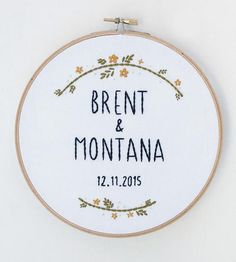 A little more personal than a blender or a gift certificate, this custom embroidered art is a sweet solution to your wedding gift dilemma. The embroidery is stitched by hand, featuring the newlyweds' names with their special day underneath surrounded by a gold and green floral design. We'd like to think it's a little more special than another can opener or towel set from the registry.