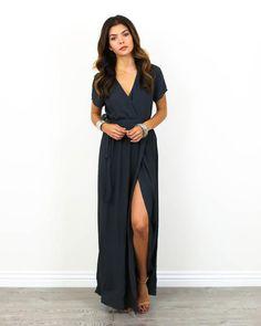 PREORDER - Solid Bardot Wrap Dress - Charcoal