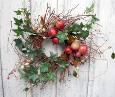 Twig Wreath with Rustic Apples and Berries
