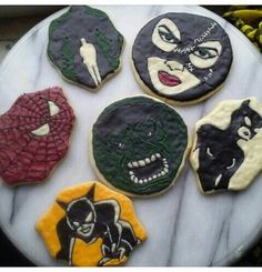 Superheroes and villians marvel cookies