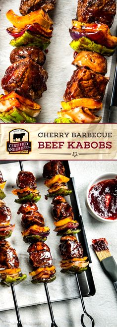 Certified Angus Beef®️ brand Cherry Barbecue Beef Kabobs are made with the best cubed sirloin steak, combined with a sticky-sweet cherry barbecue sauce mixture! Skewered with peppers, onion, beef, and mushrooms, these kabobs are a MUST TRY rec