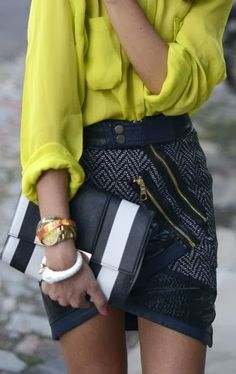 Love this skirt with the zip detailing and combined with this bright shirt... perfect