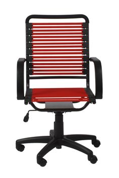 Bungie Flat High Back Office Chair in Red with Graphite Black Frame and Black Base