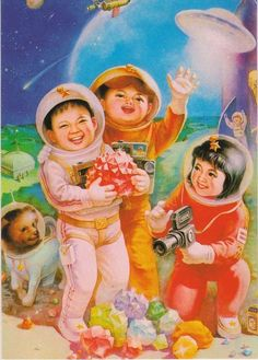 Happy UFO Day! (vintage Chinese propaganda poster promoting their early space program)