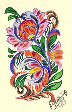 Pohľadnice Milana a Jána Pánského: Štefan Leonard Kostelníček Sewing Projects, Projects To Try, My Flower, Flowers, Leg Tattoos, Hand Embroidery, Rooster, Decoupage, Art Drawings