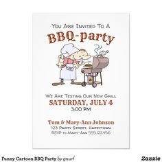 Is it time for a garden party? Invite your friends with this simple but stylish cartoon style BBQ invitation. All text can be changed. Zazzle Invitations, Invitation Cards, Party Invitations, Party Cartoon, Bbq Party, You Are Invited, Invite Your Friends, Cartoon Styles, Paper Design