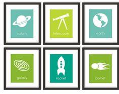 Astronomy Art - Choose Colors, Space Nursery, Rocket Art, Outer Space, Astronomy Decor, Boys Room Decor, Children Wall Art, Playroom Print