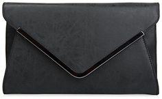styleBREAKER Envelope Clutch, Abendtasche im Kuvert Design mit Schulterriehmen und Trageschlaufe, Damen 02012047, Farbe:Schwarz