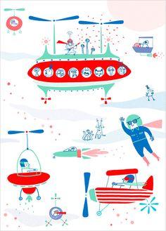 Affiche Déco Illustration pour Enfant thème Avions, Espace, Super Héros - Joanna Wiejak
