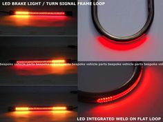 Rear LED brake light weld flat loop Turn Signal frame cafe racer red motorcycle #BespokeVehicleParts #CafeRacer