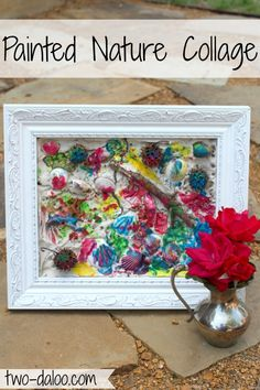Painted Nature Collage- a fun toddler art activity at Twodaloo. Process art with a beautiful product you can display in your home!