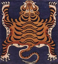 Traditional Tiger Rug hand-knotted in Nepal