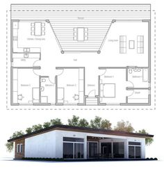 Small house plan with large covered terrace and full wall height windows toward terrace, three bedrooms.