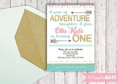 Arrow Gold / Pink / Turquoise Printable 1st Birthday invitation - personalized - gold glitter - tiffany blue - arrows - feathers - flowers - floral - girls birthday party decorations - 1st birthday party - first bday girl party ideas - etsy.com - custom - invitation - photo file