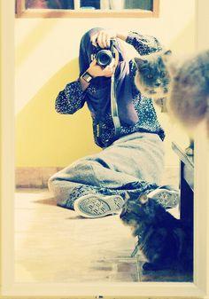 Camera and cat