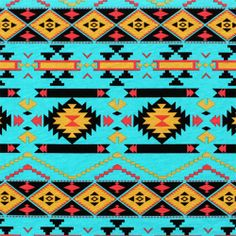 "Mustard Coral Navajo on Turquoise Cotton Jersey Blend Knit Fabric - A gorgeous navajo ethnic inspired print in colors of mustard yellow, black, coral pink on a turquoise blue background cotton jersey blend knit.  Fabric is light to mid weight with a small stretch.  Pattern repeat is 8"".  ::  $6.50"