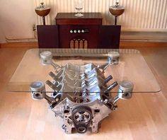 V8 glass table