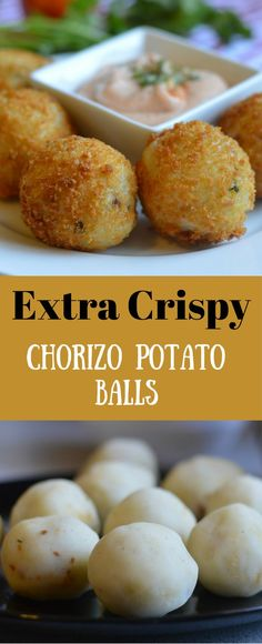 These Extra Crispy chorizo potato balls are so easy to make and perfect for any occasion. We especially love to eat them while watching our favorite shows or games on TV. #STAYUNSPOILED #QNOTLOCUENTEN #ad