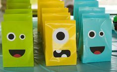 Monster themed birthday party - Cute party bags would be great for favors.