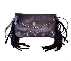 American Bling Genuine Leather Fringe Western Cross Body Bag CLL-023 BK #AmericanBling #MessengerCrossBody