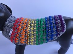 Rainbow Dog Sweater Crochet Dog Sweater Dog Clothing Dog