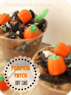 Pumpkin Patch Dirt Cake with Gummy Worms
