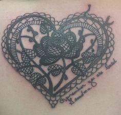 Lacy heart tattoo