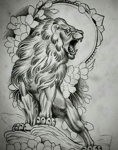 Lion Head Tattoos, Body Art Tattoos, Sleeve Tattoos, Tattoo Sketches, Tattoo Drawings, Art Sketches, Lion Tattoo Design, Tattoo Designs, Tiger Tattoodesign