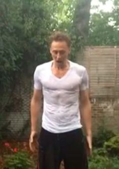 We cordially invite you to Tom Hiddleston's one-man wet t-shirt contest.