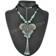 Schmuck Halskette, mit Türkis & Baumwolle Schnur, mit Verlängerungskettchen von 1.1lnch, Schmetterling