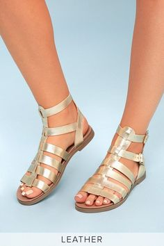 4305d94abf333 Diego Gold Leather Gladiator Sandals 4  SandalsHeels