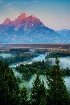 A beautiful view from Snake River, Grand Teton National Park, Wyoming, USA