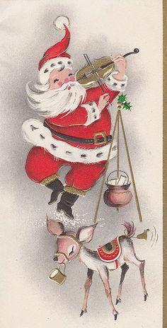 vintage Christmas card Santa & reindeer