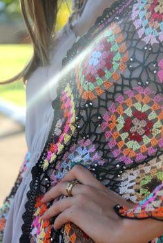 Rosa acessórios em tricô & crochê: Moda crochê: Casaco squares de crochet