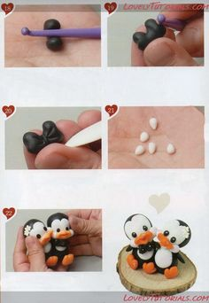 Adorable Polymer Clay Penguin Wedding Couple